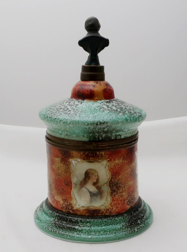 Czech Painted Glass Cordial Caddy-Women's Portrait
