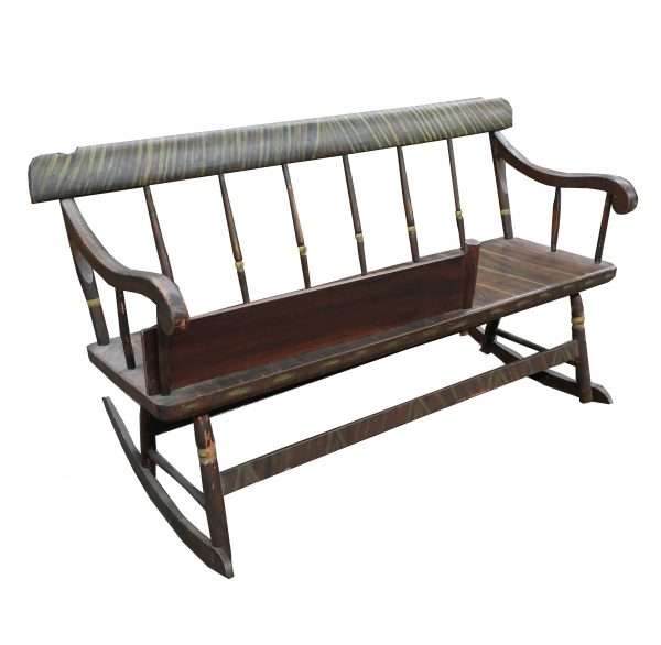 Antique Folkart Nanny Rocking Bench with Original Gate