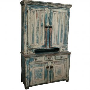 Dutch Cupboard Stepback with Pie Server-Blue Paint