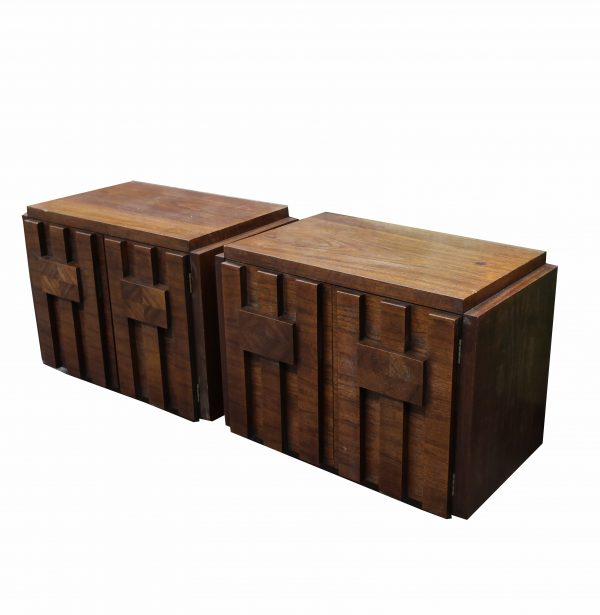 Pair of Lane Mosaic Mid-Century End Tables