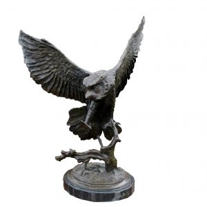 Antique Bronze Flying Owl Sculpture-Jules Moigniez