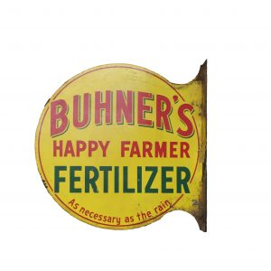 1950's Double Sided Buhner's Happy Farmer Fertilizer Flange Tin Sign