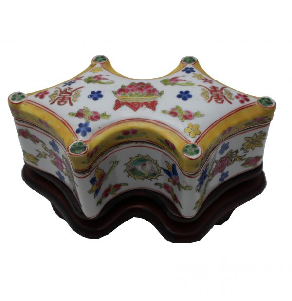 Signed Chinese Porcelain Box on Wood Stand