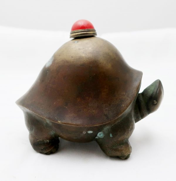 Bronze Turtle Snuff Bottle with Lid