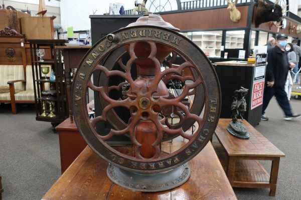 """Number 1200 Chas Parker Coffee Mill with 25"""" Wheel-Circa 1898"""