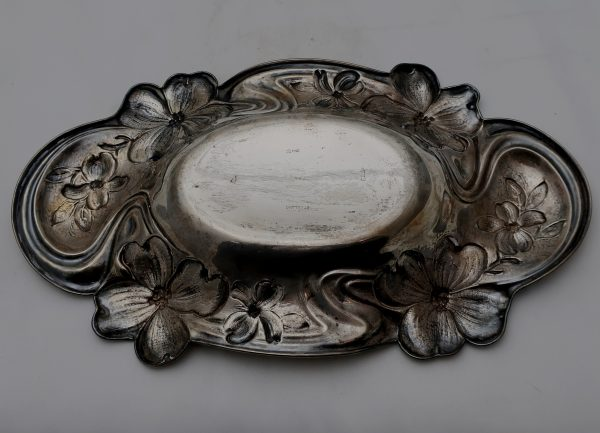 "Sterling 15"" Tray Art Nouveau Floral Border"