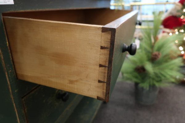 Green Repurposed Work Bench with Antique Dovetailed Drawers