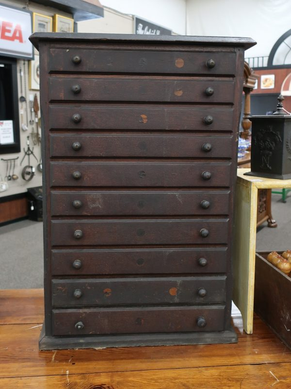 Vintage 10 Drawer Watch Maker's Cabinet-Contents Included