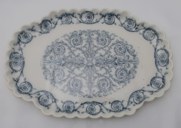 1800's Flow Blue Tureen,Under Plate and Ladle-Rome Pattern