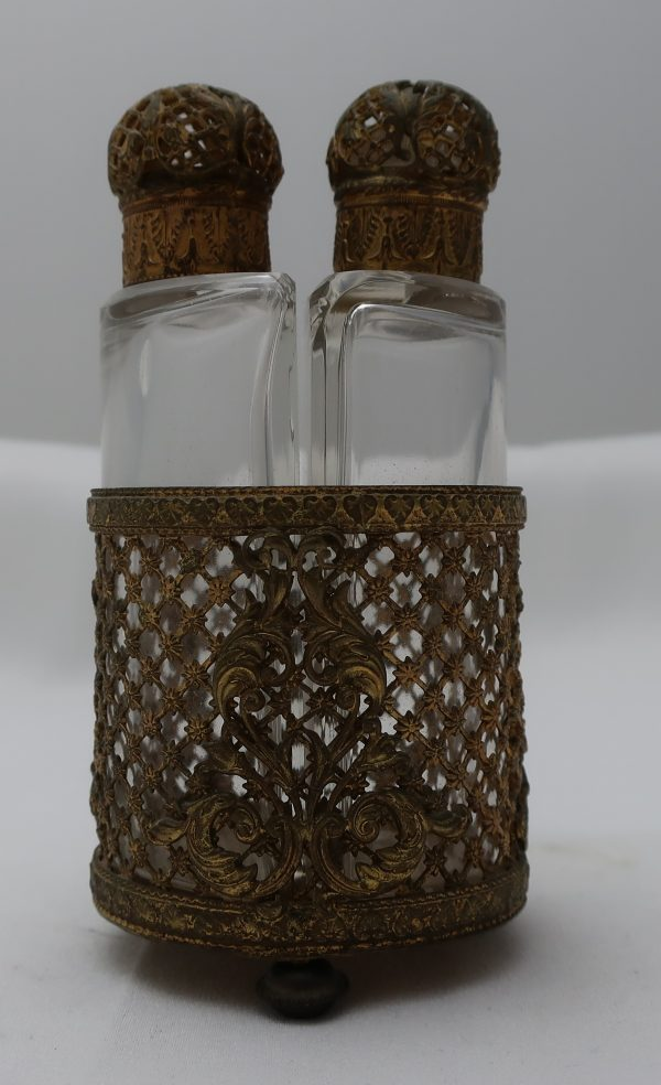 Signed Czech Perfume Bottles in Brass Holder and Caps