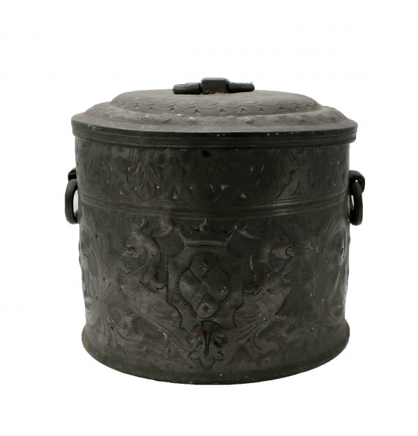 Early Pewter Bowl with Lid Repousse Griffins and Foliage