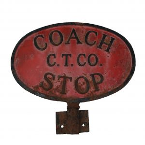 """Vintage Cast Iron Double Sided """"Coach Stop"""" Sign C.T. Company"""