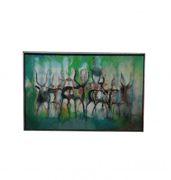 Theresa Musoke Mid Century Modern Antelope Watercolor on Canvas
