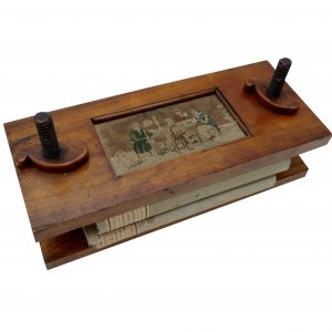 Early Wood Book Press with Needlepoint Scene