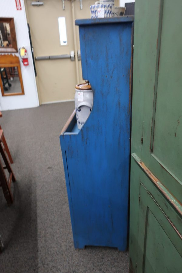 Antique High Back Dry Sink-Pastry Blue Paint Museum Finish