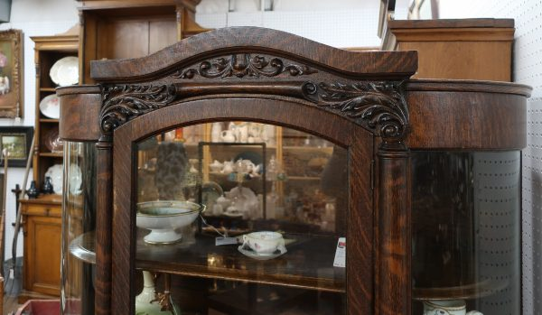 Antique Oak China Cabinet with Bow Glass