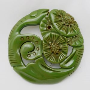 Vintage Green Bakelite Pin-Snake and Flowers