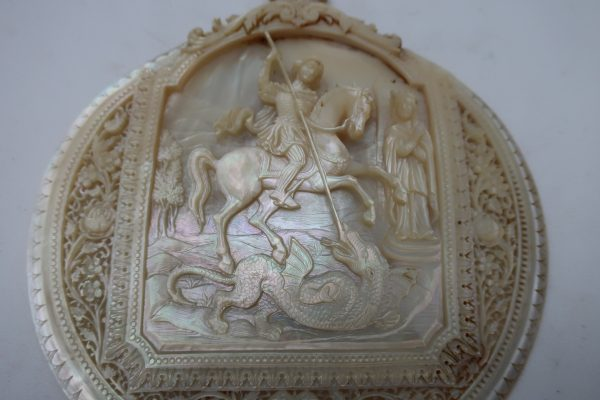 Artistic Mother of Pearl Relief Carving-Circa 1900