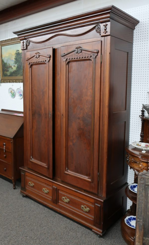 Large Antique Walnut Knock Down Armoire with Key