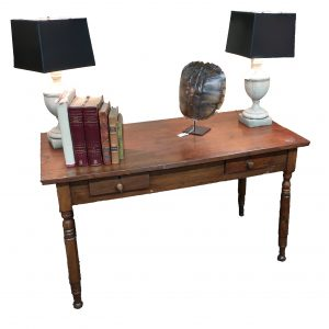 Antique Walnut 2 Drawer Table/Desk