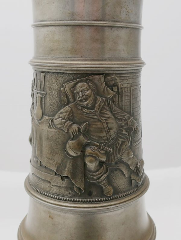 "20"" German Pewter Mug Stein with Knight on Lid"