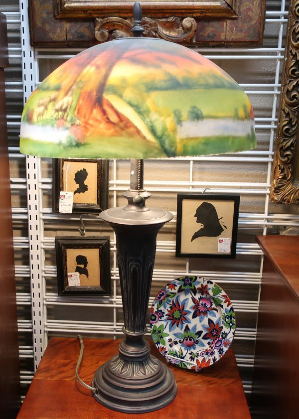 Reverse Painted Lamp with Pastoral Decor