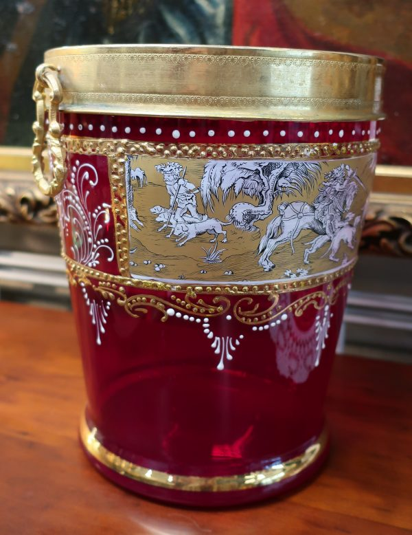 Cranberry Glass Ice Bucket