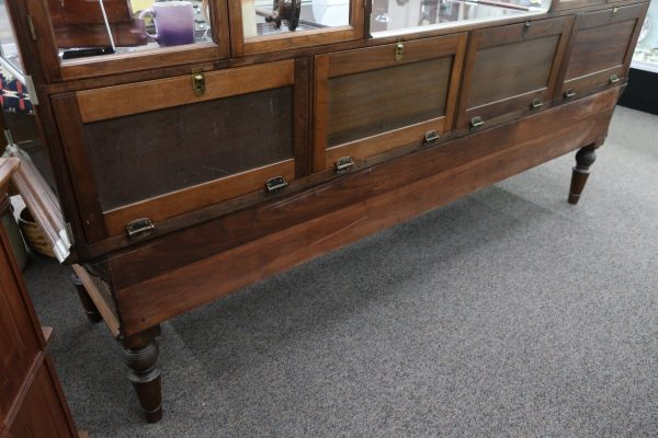 Antique Double Steeple Walnut and German Show Case with Base