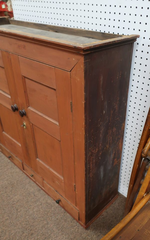 Old Red Paint Hanging Cupboard with 3 Drawers-Circa 1850