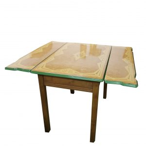 Porcelain Top Table with 2 Pull Out Leaves and Drawer