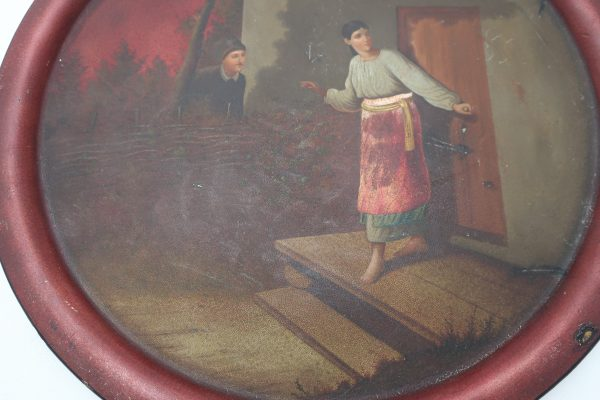 Hand Painted Tray-Lovers at the Cottage Scene