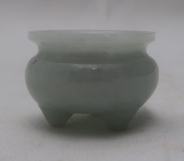 Miniature Chinese Carved White Jade Vessel