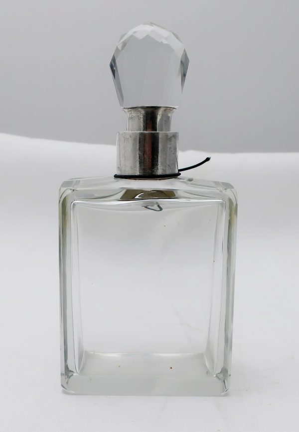 English Sterling and Glass Locking Decanter