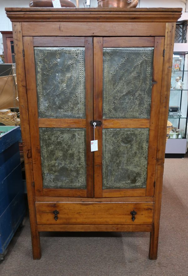 Antique Pie Safe 4 Large Door Tins with Doves-Very Early