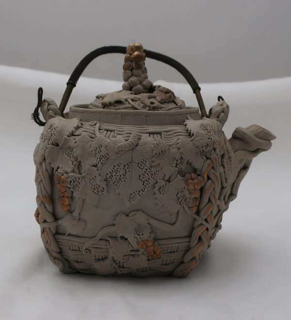 Signed Asian Teapot with Applied Berries and Leaves