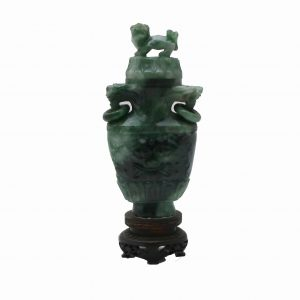 Small Chinese Carved Jade Vase with Foo Lion Finial