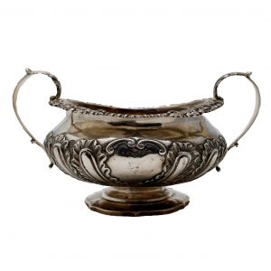 English Silver Hallmarked Handled Pedestal Bowl