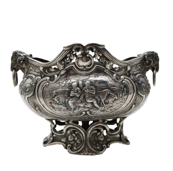 German 800 Silver Serving Dish-Picking Apples