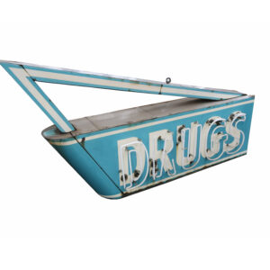 Large Vintage Porcelain Neon Drugstore Sign-Double Sided