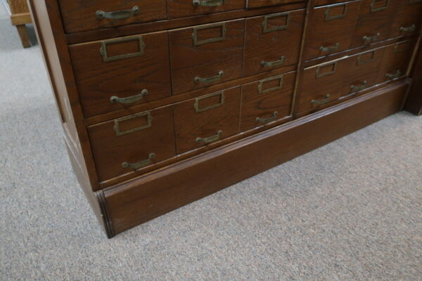 Oak 3 Stack Hardware Cabinet with Base and Top-90 Drawers
