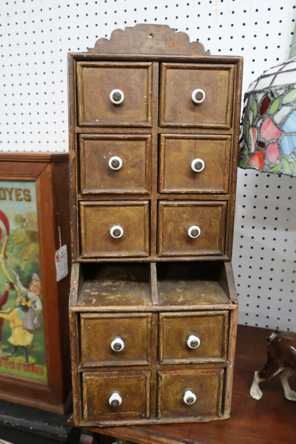 Antique Large 10 Drawer Spice Cabinet with Original Pulls