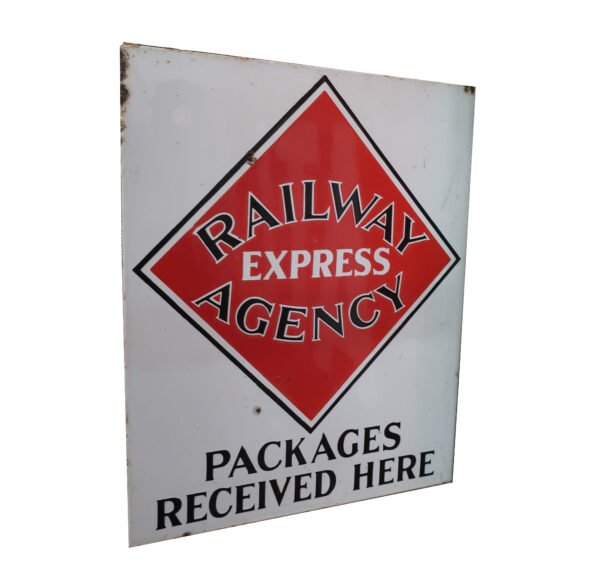 1920's Red, Black, and White Flange Porcelain Sign-Railway Express Agency