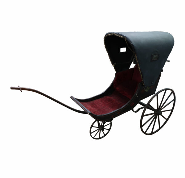 Antique 3 Wheel Pram with Wood Wheels and Reversible Canopy