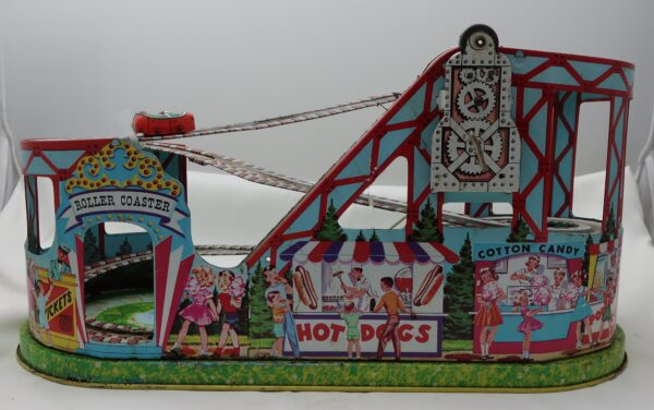 1950's J. Chein Tin Wind Up Roller Coaster with Car