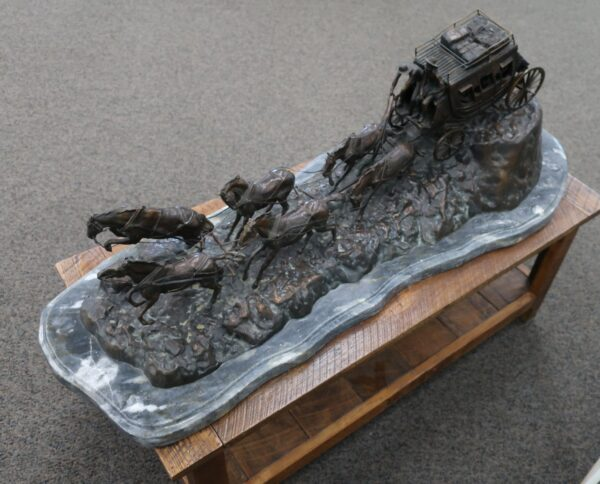 Bronze on Marble Stagecoach Statue by Charles M. Russell