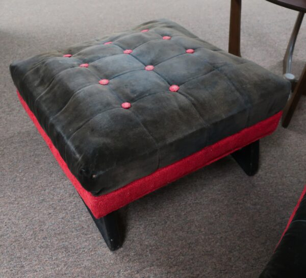 Adrian Pearsall Lounge Chair and Ottoman-Furcraft Assoc. Red and Black