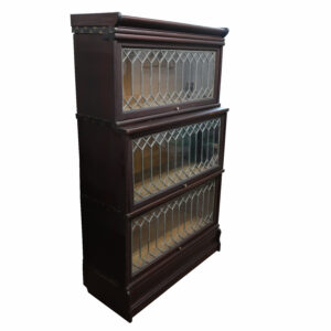 Macey Stack Bookcase Solid Mahogany with Leaded Glass
