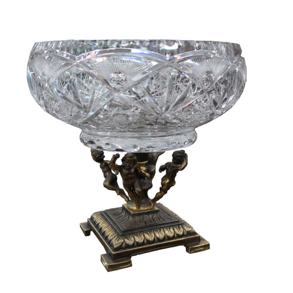 Cut Glass Centerpiece with Figural Bronze Base