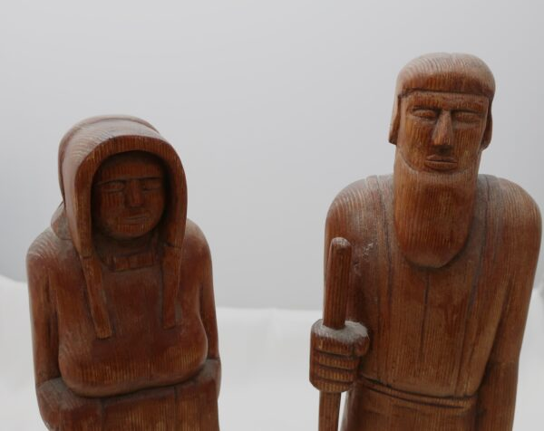 Vintage Amish Man and Woman Wood Carving Figures