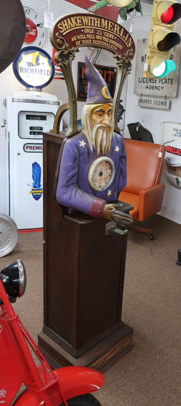 """Vintage Carnival Shake Hands with Merlin Coin Operated Machine-76"""" Tall"""
